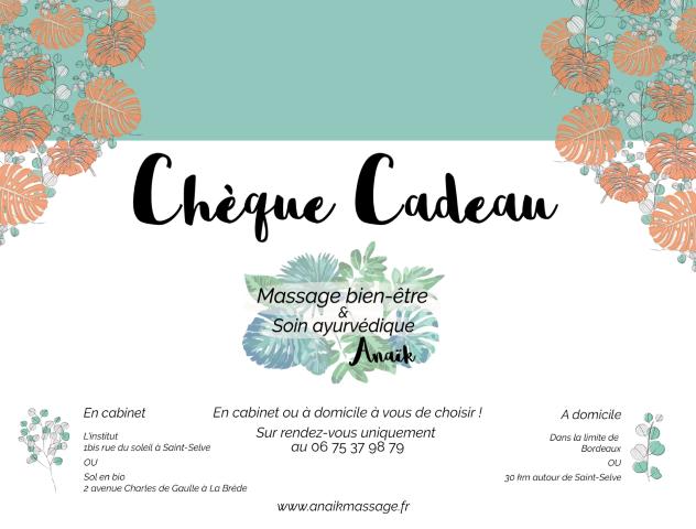 Chèque cadeau Anaïk Massage bien-être et soin ayurvédique